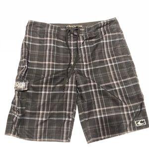 🍓 Oneill black plaid shorts L